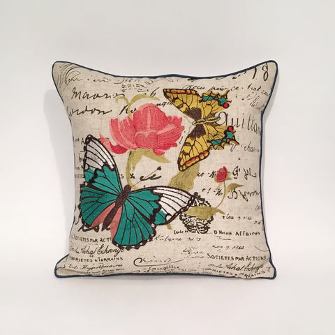 Butterfly Embroidered Cushion Cover | 42 x 42 cm