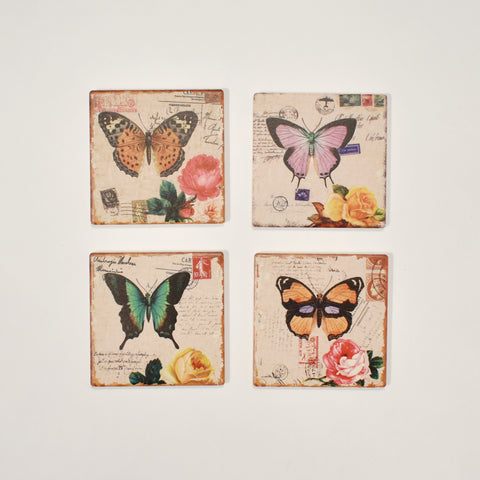 Square Absorbant Butterfly Ceramic Coaster Set