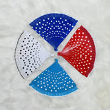 Polka Dot Painted Handheld Folding Wooden Fans