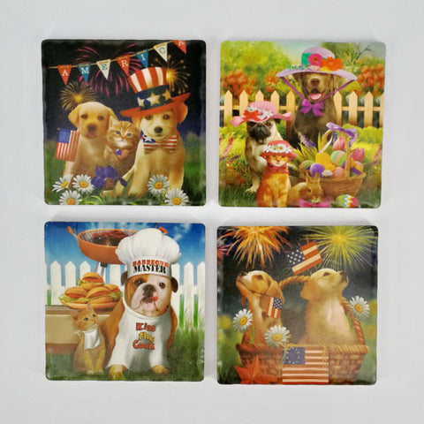 Square Absorbant Doggie Ceramic Coaster Set