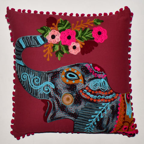 Elephant Embroidery Cushion Cover | 45 x 45 cm