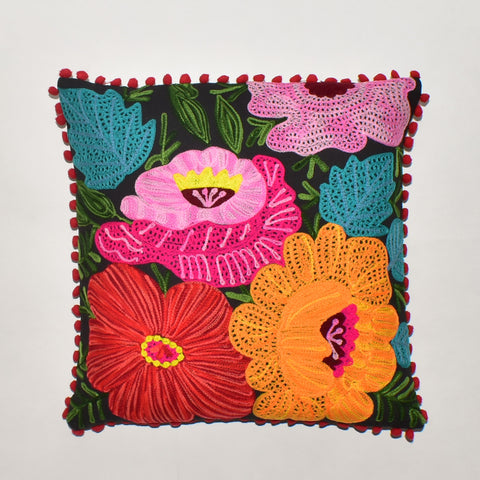 Floral Embroidery Cushion Cover | 45 x 45 cm