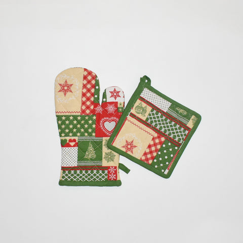 Green Christmas Oven Mitt and Pot Holder Set