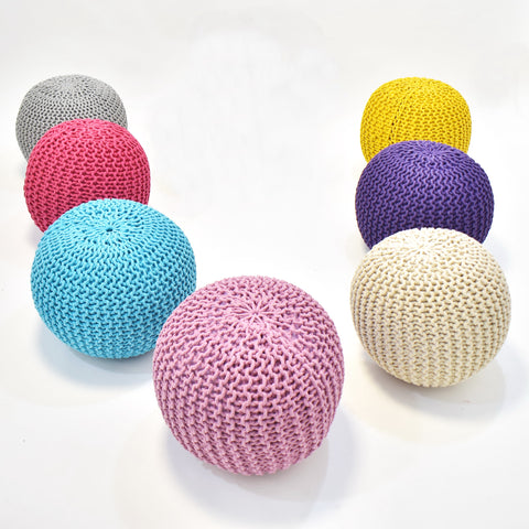 Knitted Round Crochet Pouf Ottoman | 45 x 35 cm