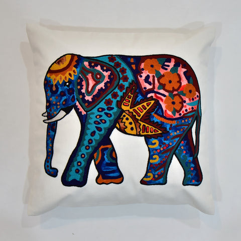 Multicolor Elephant Embroidered Cushion Cover | 45 x 45 cm