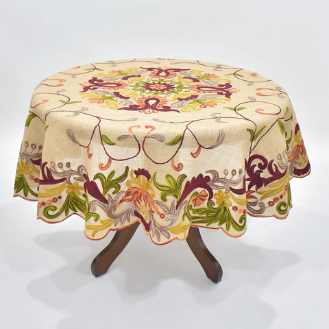 Ariana Jute Square Round Table Topper | 72 inches