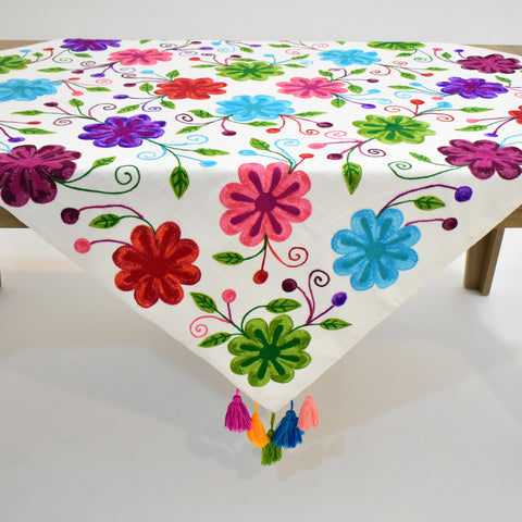 Jacintha Multicolor Floral Square Table Topper | 54 inches