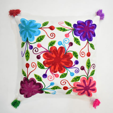 Jacintha Multicolor Floral Embroidered Cushion Cover | 45 x 45 cm