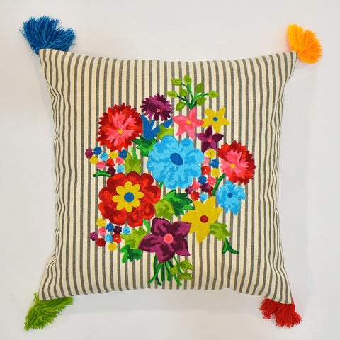 Multicolor Floral Embroidery Cushion Cover with Tassel | 45 x 45 cm