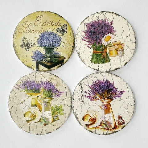Round Absorbant Lavender Ceramic Coaster Set