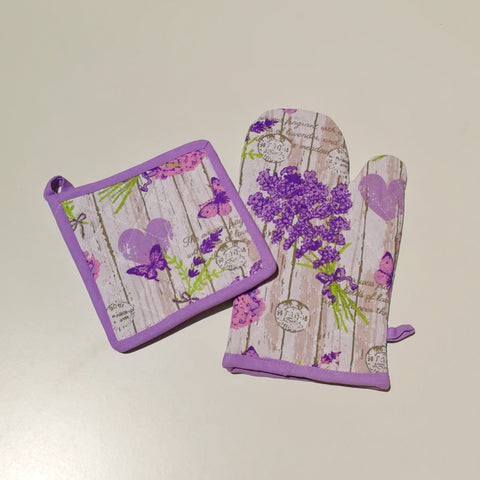 Lavender Oven Mitt and Pot Holder Set