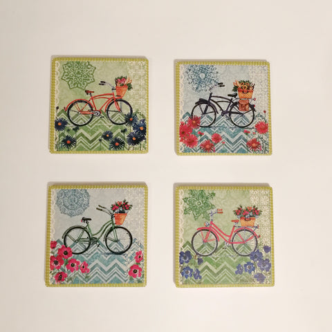 Square Absorbant Blue-Green Bicycle Ceramic Coaster Set