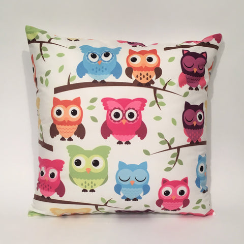Owl Multicolor Printed Cushion Cover | 44 x 44 cm