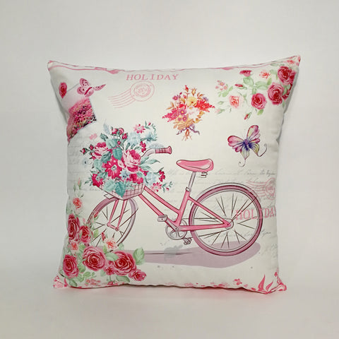 Pink Bicycle Printed Cushion Cover | 44 x 44 cm