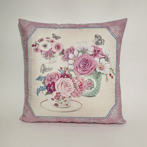 Purple Floral Printed Cushion Cover | 44 x 44 cm