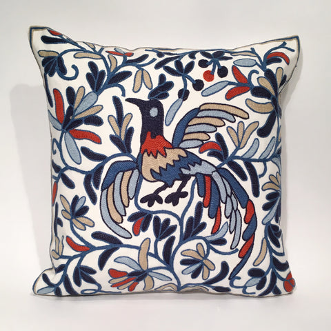 Peacock Embroidered Cushion Cover | 45 x 45 cm