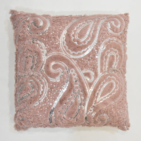 Paisley Sequin Faux-Fur Cushion | 45 x 45 cm