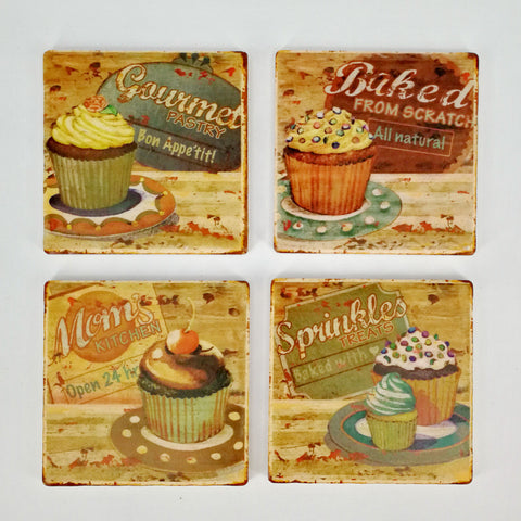 Square Absorbant Cupcake Ceramic Coaster Set