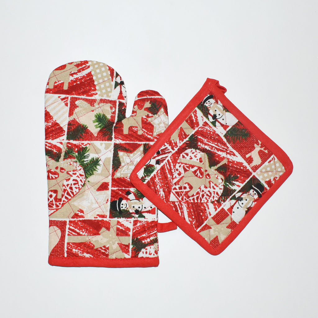 classic red christmas oven mitt and pot holder set