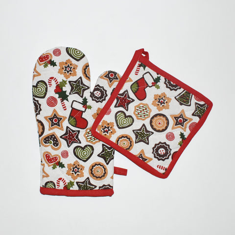 Christmas Cookie Oven Mitt and Pot Holder Set