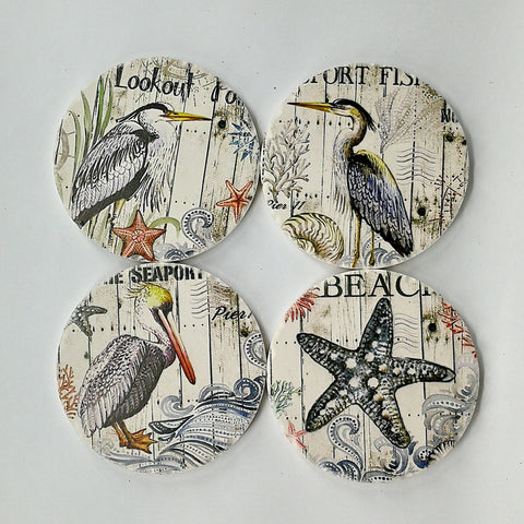 Round Absorbant Seagull Ceramic Coaster Set