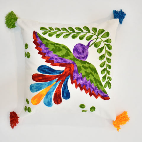 Colorful Bird Embroidery Cushion Cover with Tassel | 45 x 45 cm