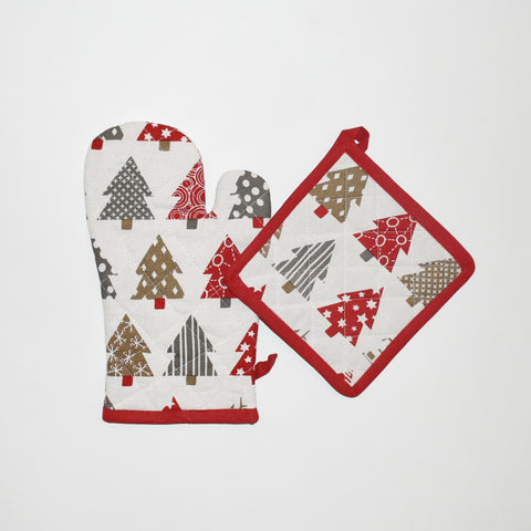 Christmas Tree Oven Mitt and Pot Holder Set