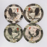 Round Absorbant White Rooster Ceramic Coaster Set