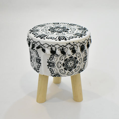 Round Black and White Stool with Tassels