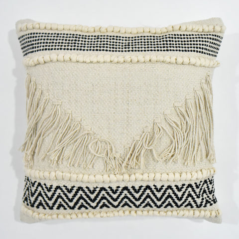 Beige and Black Macrame Cushion Cover | 45 x 45 cm