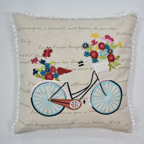 Bicycle Embroidery Cushion Cover | 45 x 45 cm