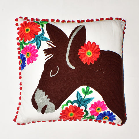 Donkey Embroidery Cushion Cover | 45 x 45 cm