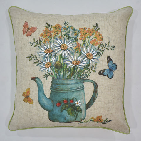 Printed Floral Pot Cushion Cover | 45 x 45 cm