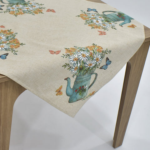 Printed Floral Pot Square Table Topper | 36 inches