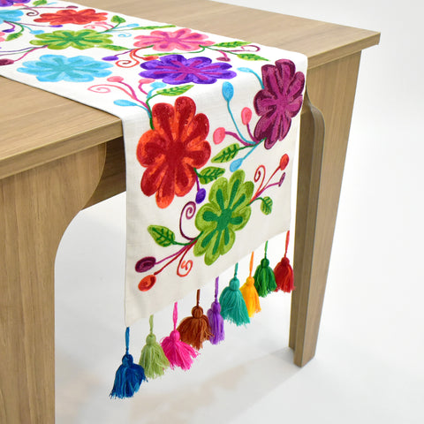 Jacintha Multicolor Floral Table Runner | 16x72 inches