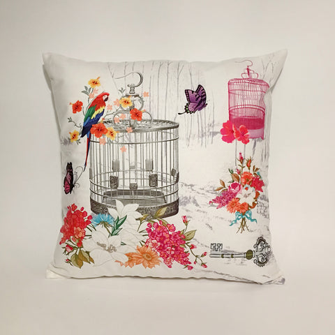 Multicolor Parrot Cage Printed Cushion Cover | 44 x 44 cm