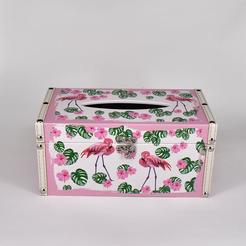 Pink Border Flamingo Tissue Box Cover