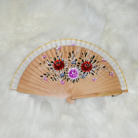 Natural Hand-Painted Handheld Folding Wooden Fan