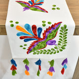 Colorful Bird Embroidery Table Runner | 16x72 inches
