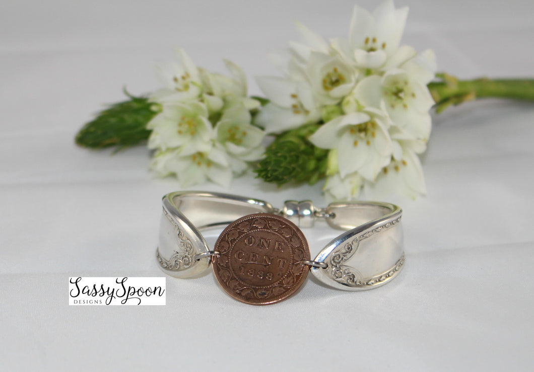 Handcrafted Antique Vintage Silverware  Coin Bracelet
