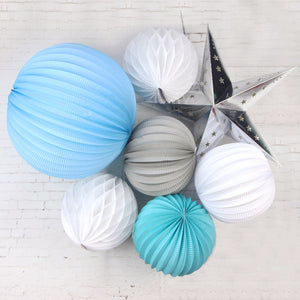 New 7pcs Party Decoration Pleated Paper Lanterns,Honeycomb Balls Wedding Baby Shower Festival Supplies Hanging Decorations 7in and 12.5in