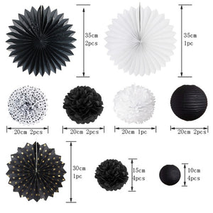 20pcs/Set Black and White Theme Party Decoration (Paper Fans, pompoms, Paper Lantern , Banner Decor) For Event Party Supplies