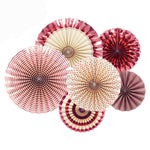 6Pcs Set Rose Gold Party Decorative Creative Paper Flower Fan Folding Fan Wedding Party Decoration