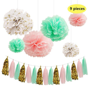 9 PC Set, Mint Green and Fresh Tissue Paper and Tassel Set Party Decorative Supplies