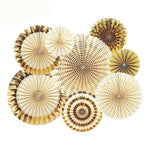 8 Pc Set Gold Party Decorative Paper Flower Fan/  Handmade Folding Fan Party Supplies