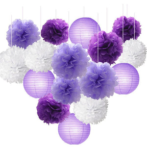 16 Pc Set Tissue Paper Flowers Pom Poms Ball Mixed Paper Lanterns Kit, Lavender Purple Themed Party Decor Baby Shower