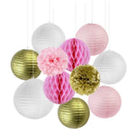 11 pc set/ Gold and Pink Paper Decoration Honeycomb Balls/Paper Lanterns/Tissue Paper Pom Pom Wedding Birthday Party Decor