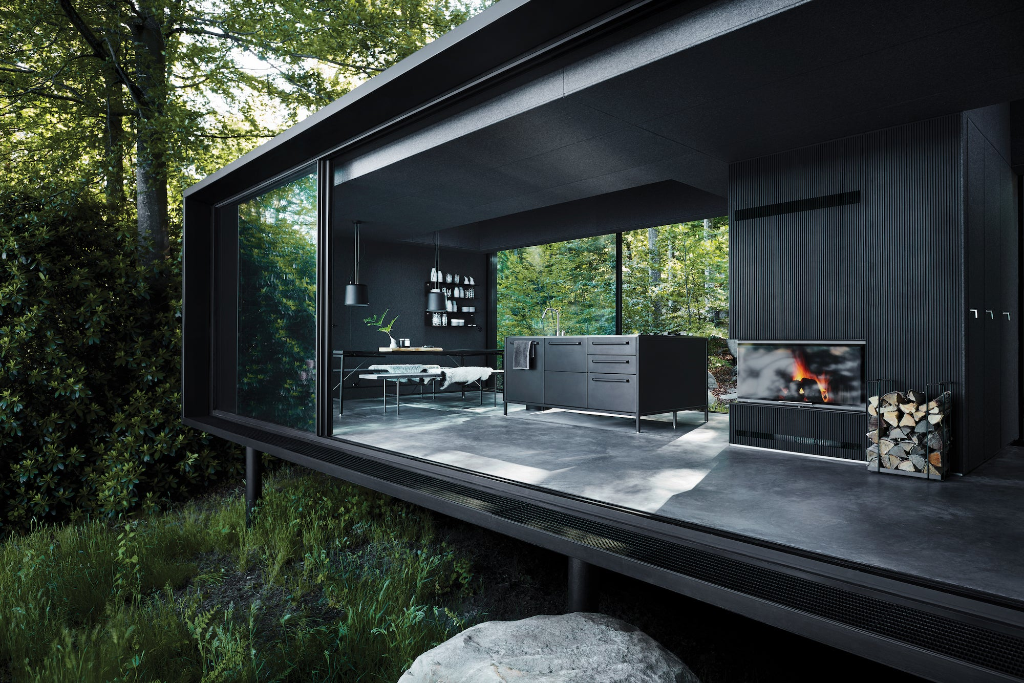 Vipp Shelter Sweden livingroom and open kitchen