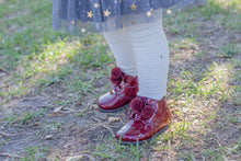 Beberlis Burgundy Pompom Bottie-Baby Shoes-BEBERLIS-Hopscotch Shoes Australia
