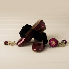 Beberlis Burgundy patent Mary Jane with black velvet bow-Girls Shoes-BEBERLIS-Hopscotch Shoes Australia